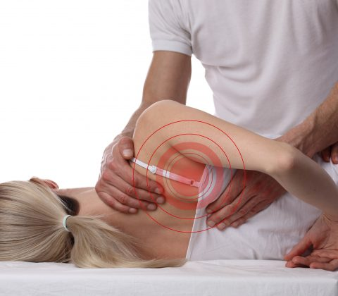 Woman having chiropractic back adjustment, healing treatment. Osteopathy, manual therapy, Alternative medicine, pain relief concept isolated on white.